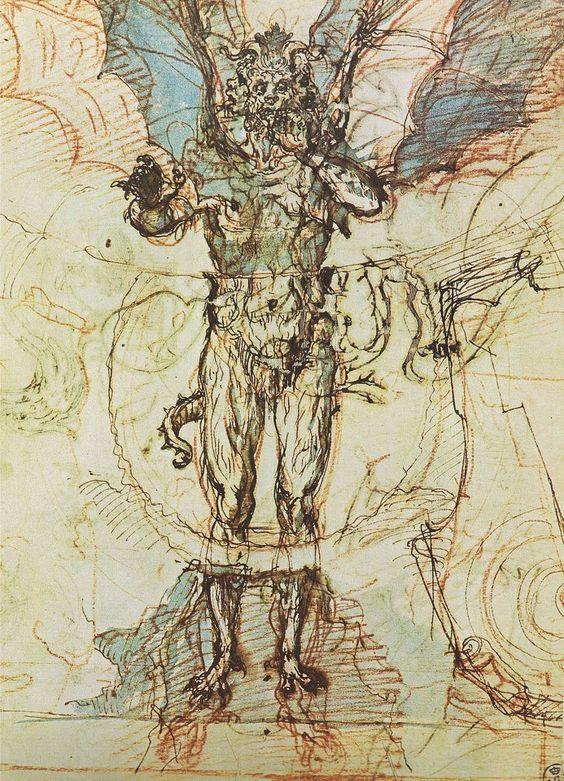 Lucifer for Dante's The Divine Comedy by Ludovico Cardi (aka Cigoli) ca. 1590 | chapter 45