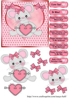 Little Mouse Valentine s Day Quick Card on Craftsuprint designed by Tanya Hall - Little Mouse Valentine's Day Quick Card - Now available for download!