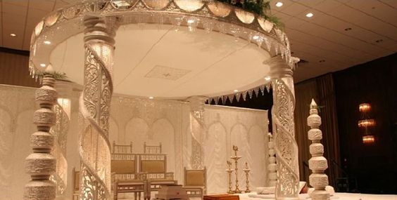 An all white wedding stage with crystals, very luxurious!
