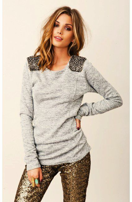 grey sequin shoulder patch sweater: