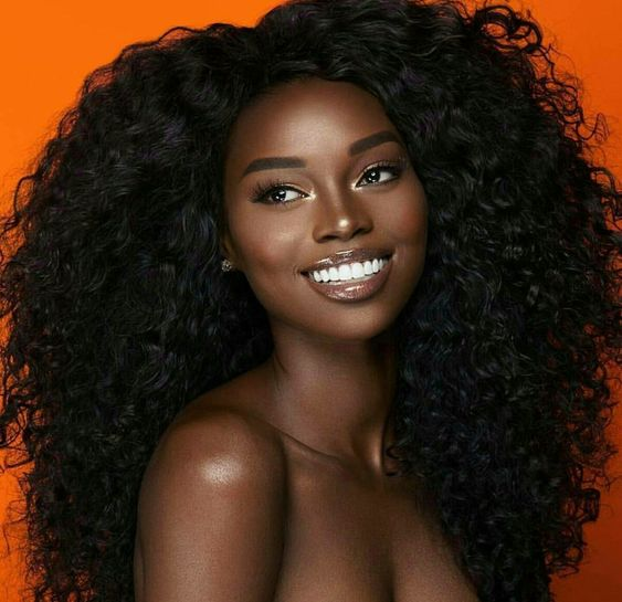 Pretty dark chocolate black woman. Beautiful black woman.