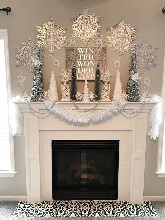 Winter Wonderland Holiday Mantel – Ellery Designs #HobbyLobbyMade #HobbyLobbyHoliday #ad