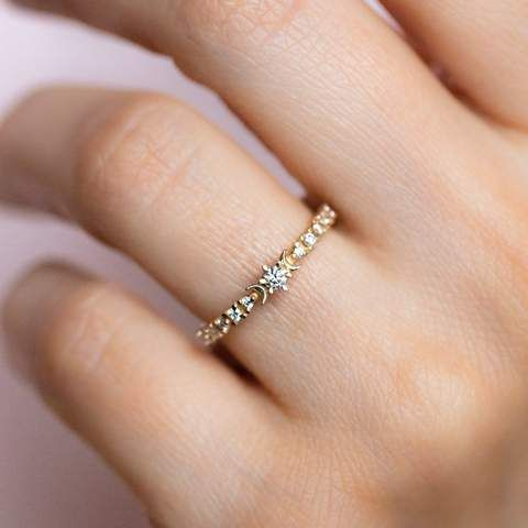 His and Hers Wedding Band Ring 18K Yellow Gold Plated Sterling Silver STARDUST Size 4 to 13