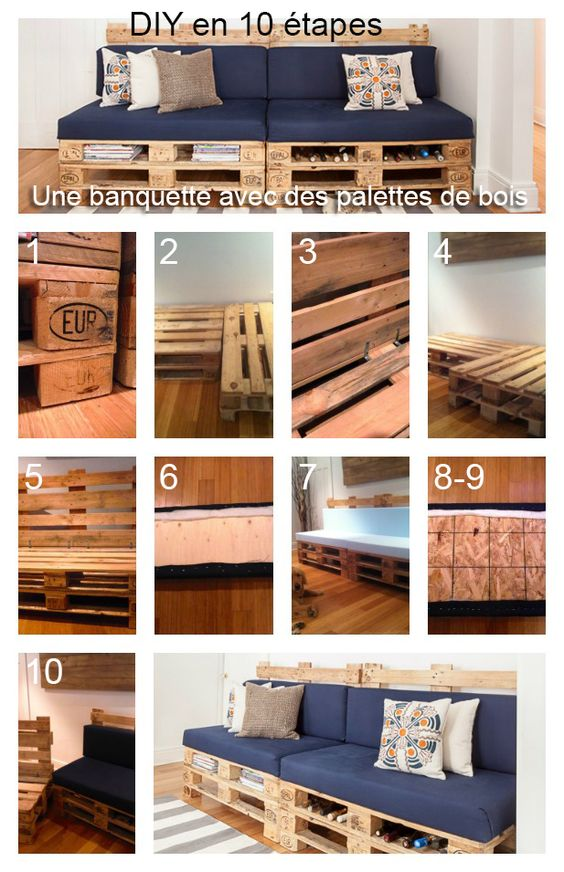 diy une banquette avec des palettes de bois d cormag diy d cormag pinterest. Black Bedroom Furniture Sets. Home Design Ideas