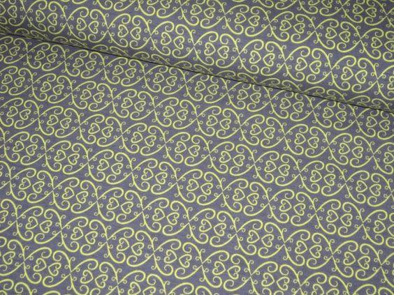 Stoff Ornamente - Retro - Jerseystoff Vintage Ornaments gelb/grau - ein Designerstück von HelgasWichtelwelt bei DaWanda