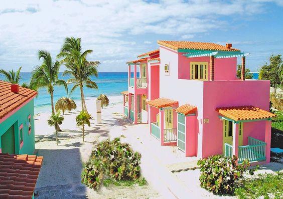 Villa Coral - Cayo Largo #Cuba - colorful houses exteriors bright www.CubaCayoLargo.com