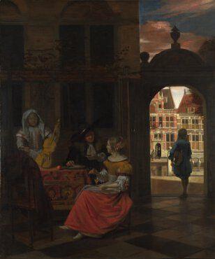 Pieter de Hooch, A musical party in  courtyard