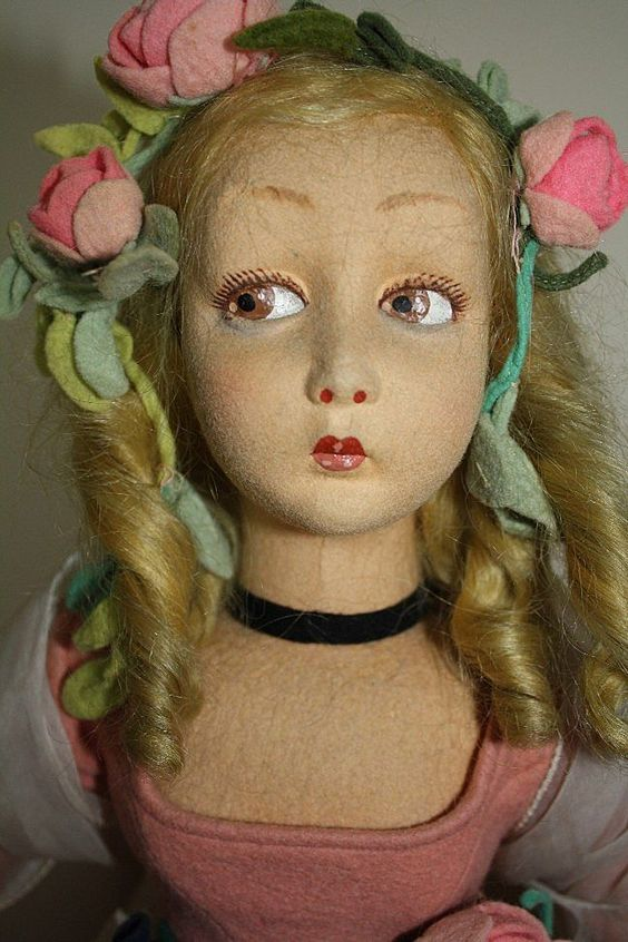Gorgeous Tagged Lenci Salon/Boudoir Lady - Lillian Gish face from ribbonsantiques on Ruby Lane: