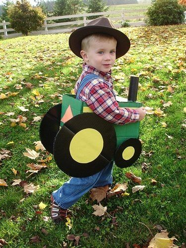 - farmer and tractor costume...so easy to make!  cardboard box, cardboard wheels, paper towel roll & paint! Red tractor would be better!