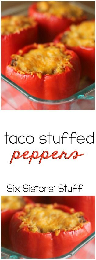 Taco Stuffed Peppers from SixSistersStuff.com.  Healthy, easy and SO DELICIOUS!