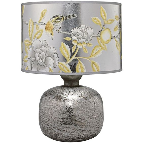 Jamie Young Company Jamie Young Textured Mercury Glass Floral Table... ($563) ❤ liked on Polyvore featuring home, lighting, table lamps, yellow lamp, flora lights, mercury glass lamp, drum lamp-shade and jamie young table lamps