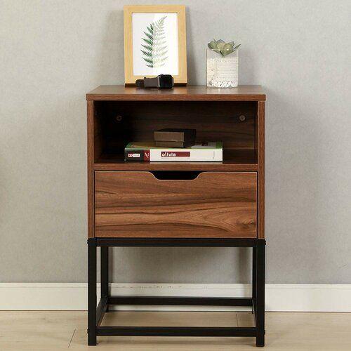 Ebern Designs Clive 1 Drawer Bedside Table In 2020 Wood Bedside Table Walnut Bedside Table Bedside Table