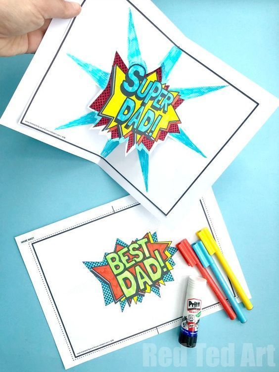 Pop Up Best Dad Card Printable Red Ted Art Make Crafting With Kids Easy Fun Pop Up Card Templates Dad Cards Diy Pop Up Cards