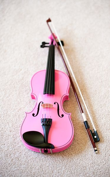 Pink violin! I want one sooo bad! I want first a classic plain violin, then a PINK, then a black one! And then I want to start trying electric violins!