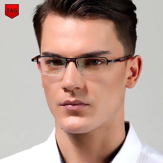 Taghezekiah 3823 Armacao De Oculos Masculino Retangular Aco Inox