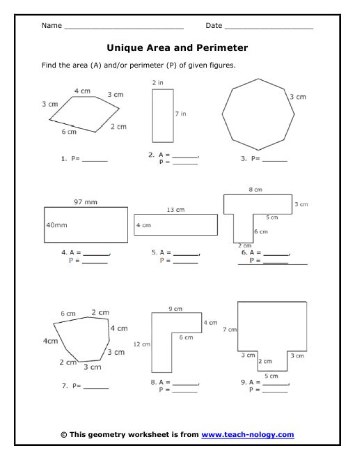 Area of Polygons Worksheets Free – Maths Perimeter and Area Worksheets