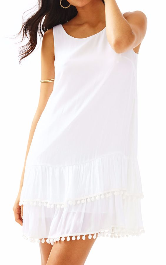 White Tank Dress with Ball-Fringe Tiered Hem