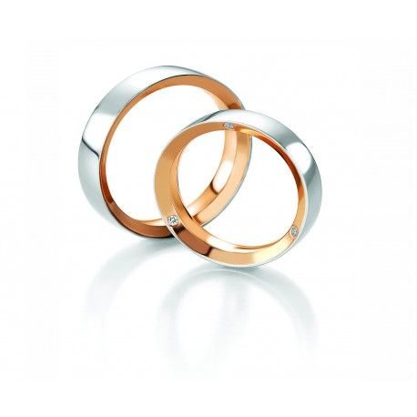 alliance duo 2 ors en or blanc et or rose pour couple belle alliance de - Alliance Entrelace Mariage