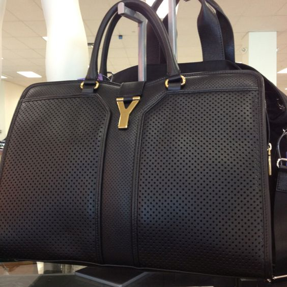 yves st laurent canada - TjMaxx...YSL Cabas Chyc perforated black leather medium satchel ...