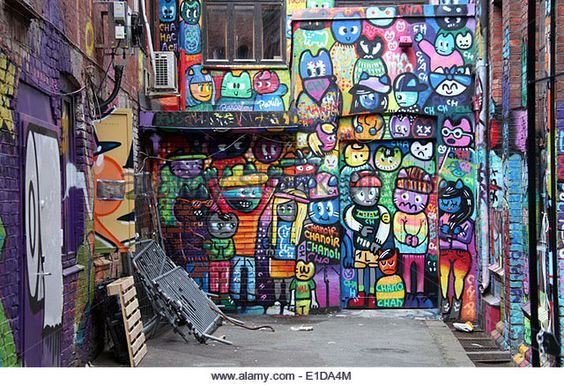 Trendy neighbourhood of Grunerlokka in Oslo which has colourful street art and markets. - Stock Image