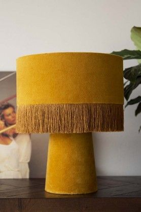 All Over Velvet Table Lamp With Fringe Mustard | Colorful