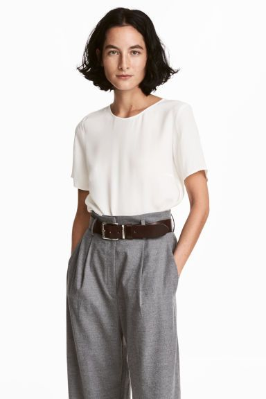 Блузка с коротким рукавом - Белый - Женщины | H&M RU 1