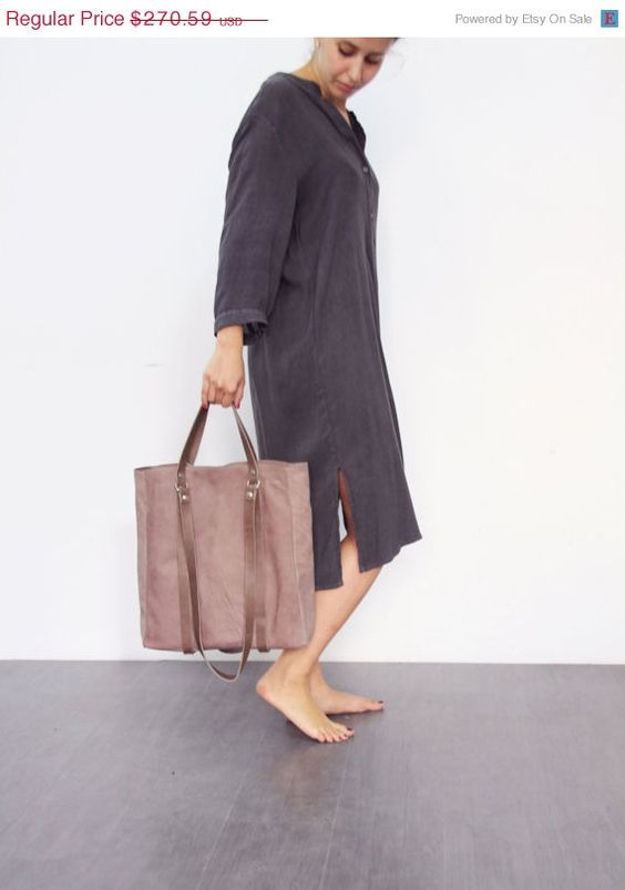 Taupe leather tote bag- Grace bag on Etsy, $266.50 AUD