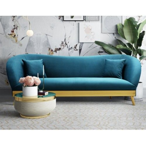 Blue Velvet Sofa Brushed Gold Base Legs Blue Velvet Sofa Velvet Sofa Living Room Sofa Decor