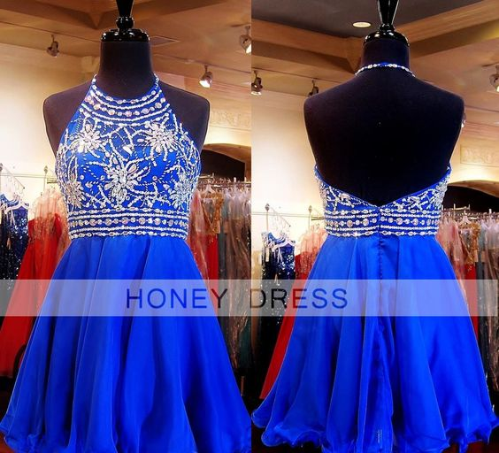 Image of Blue Chiffon Beaded Sequins And Rhinestones Cocktail Dress With Halter Neckline