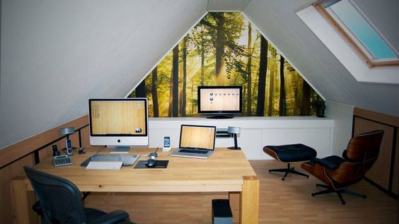 The office in the attic, wood and clean area.