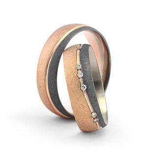 Trauringe in 585 Graugold / Roségold Brill. 0,12ct WSI Damenring, Herrenring: 6mm breit Oberfläche: eismatt