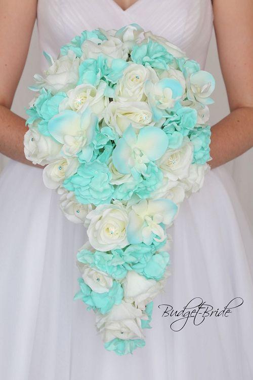 White Lily Bouquet Aqua Bouquet Aqua /& White Lily Wedding Bouquet Blue White Bridal Bouquet Aqua Bridesmaid Spa Blue Bouquet