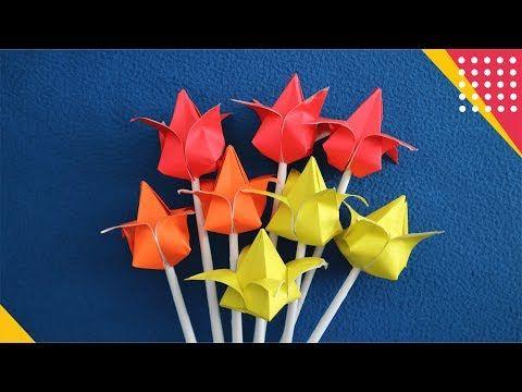 Tulip Origami Cara Membuat Hiasan Bunga Tulip Dari Kertas Mudah How To Fold Flower Easy Tutorial Youtube Di 2021 Origami Bunga Tulip Bunga