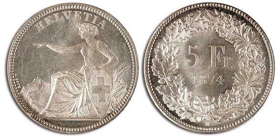 "1874, 5 Fr. ""seated Helvetia"", 1874B, condition vorzüglich-st., in this condition rare piece"