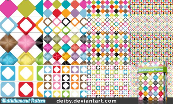 Multidiamond Pattern by deiby.deviantart.com on @deviantART  このパターンカラフルで使い勝手が良さそう。
