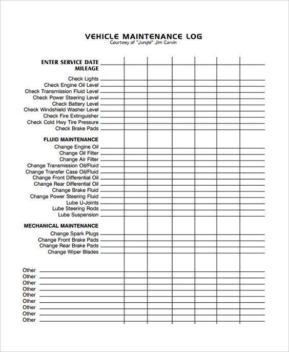 15 best Vehicle Maintenance images on Pinterest - maintenance log template