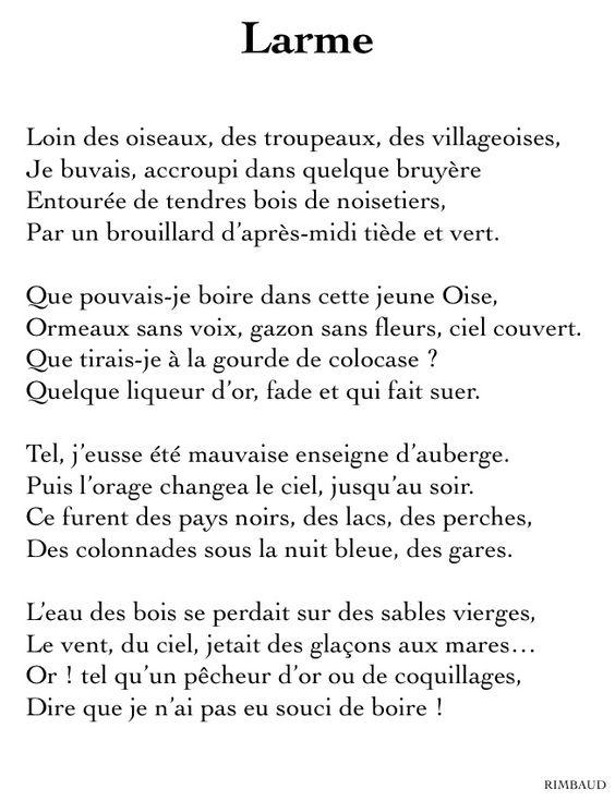 Arthur rimbaud larme po sie pinterest the - Poesie le dormeur du val arthur rimbaud ...