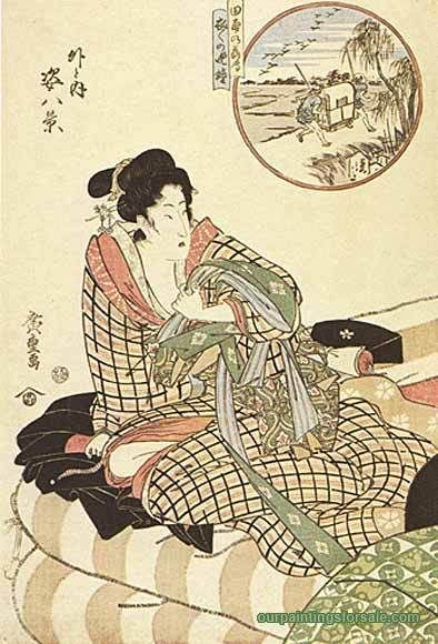 In circle figure piece (Outdoor)  - Hiroshige