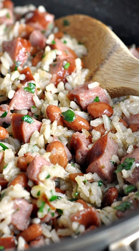 Skillet Beans and brown Rice with Kielbasa