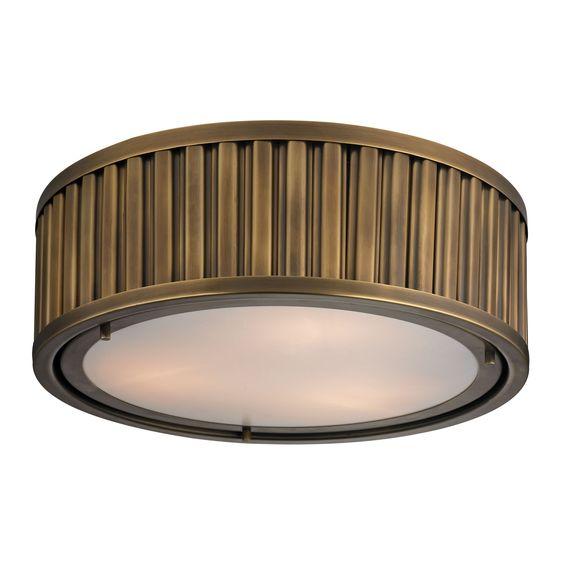 46121/3 Linden 3-Light Flush Mount in Aged Brass