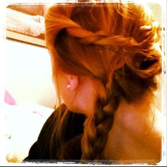 Pretty twist & side braid. Quick and easy!