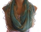Breathtaking tie-dyed Mermaid net infinity scarf in blue and green and golden ochre -Longer /narrower version Colors of Atlantis-Super soft-