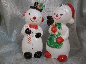Vintage Christmas/Winter Holiday Ceramic Decoration Snowpeople Couple  | jjan...
