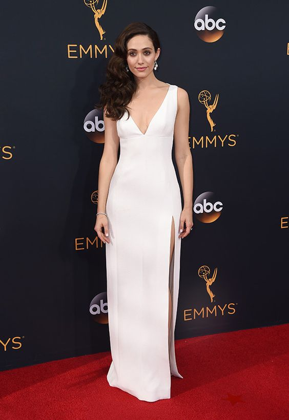 Emmy Rossum in Wes Gordon attends the 68th Primetime Emmy Awards: