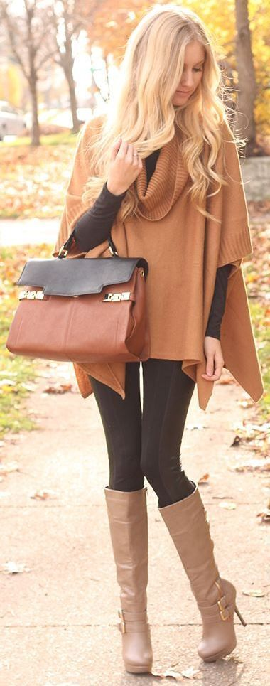 fall fashionable outfit idea : brown poncho + top + black skinnies + bag + high boots