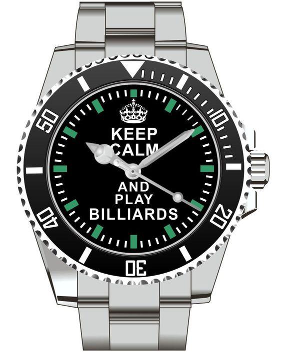 Keep Calm and play Billiards  Watch -Men Watch Jewelry Billiards Gift Present for Men- Watch 1573 von UHR63 auf Etsy