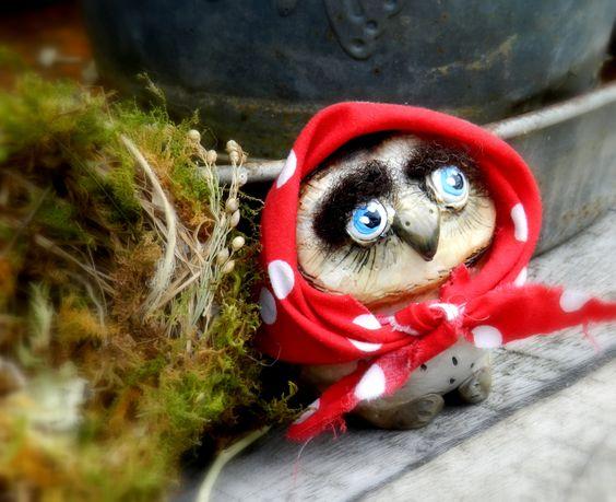 Owl in a nest, Owl in head scarft, cute handmade owl by malinkaartz on Etsy