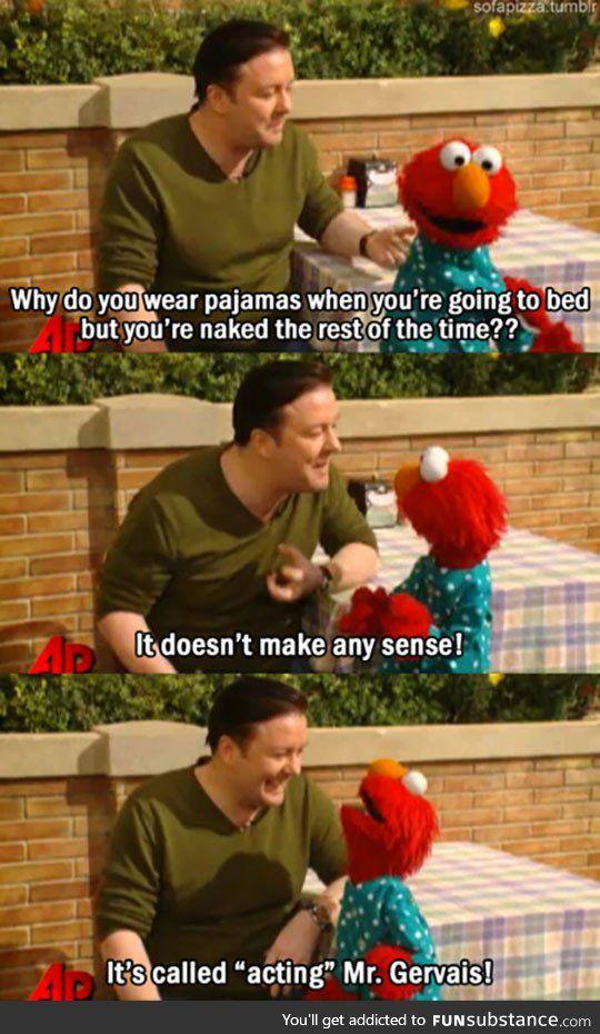 Elmo teaches ricky gervais an important lesson