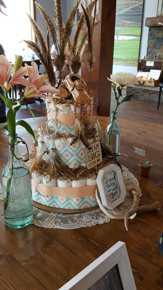 Feathers nice and colors on pinterest - Decoration baby shower fait maison ...