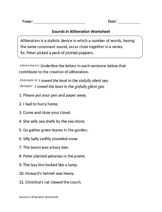 Sounds in Alliteration Worksheet | Englishlinx.com Board ...